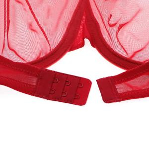 Image 5 - Varsbaby sexy big red see through yarn lingerie set rhinestone bow transparent bra and panty set