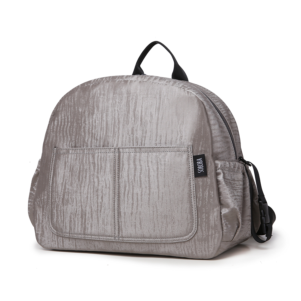 Soboba New Diaper Backpack For Mother Waterproof Solid Large Capacity Multi-functional Nappy Changing Bag For Baby Care Gray