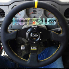 Hot Sale Universal 14inch 350mm Racing Sport Steering Wheel Auto Steering Wheel Sport Leather Steering Wheel with Logo 350mm real leather steering wheel universal 14 inch flat steering wheel with black spoke