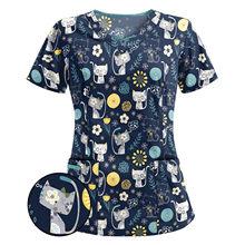 NEW Mulheres Manga Curta Vneck Topo Uniforme de trabalho salão de Beleza loja de animal de estimação Dos Desenhos Animados Impressão Tshirt uniforme da enfermeira da clínica медицинская одежда