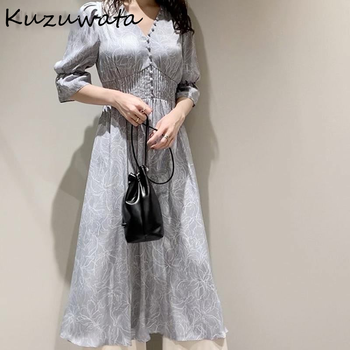 Kuzuwata V Neck Long Sleeve Slim Pullover Dress Women Vintage Print High Waist Hip A Line Long Vestidos Spring 2021 New Robe 1