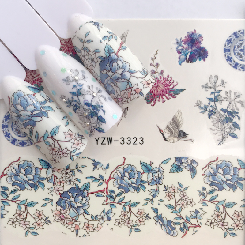 1 Sheet 2020 New Simple Chic Blue Flower Nail Art Water Decals Transfer Sticker Manicure Nail Decoration