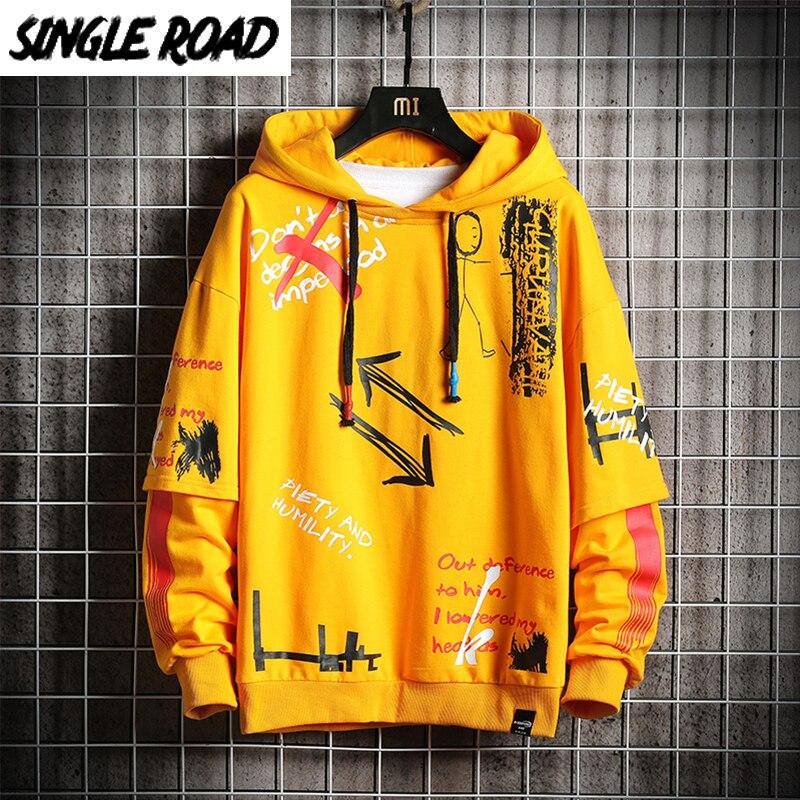 SingleRoad Mens Hoodies Men 2020 Fashion Hip Hop Harajuku Japanese Streetwear Oversized Sweatshirts Yellow Sweatshirt Hoodie Men