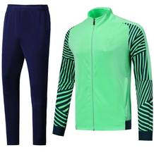 Euro Size Fashion Voetbal Jas Broek Set, Licht Groen Survet De Voet Apparatuur 2020 Sporting Trainingspak Training Voetbal Kits(China)