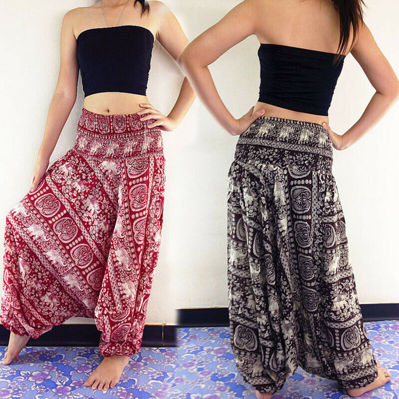 1PC Women Harem Pants Baggy Afghani Genie Indian Aladdin Trouser Plus Size Aladdin Pants 2 Kinds Of Wearing Methods