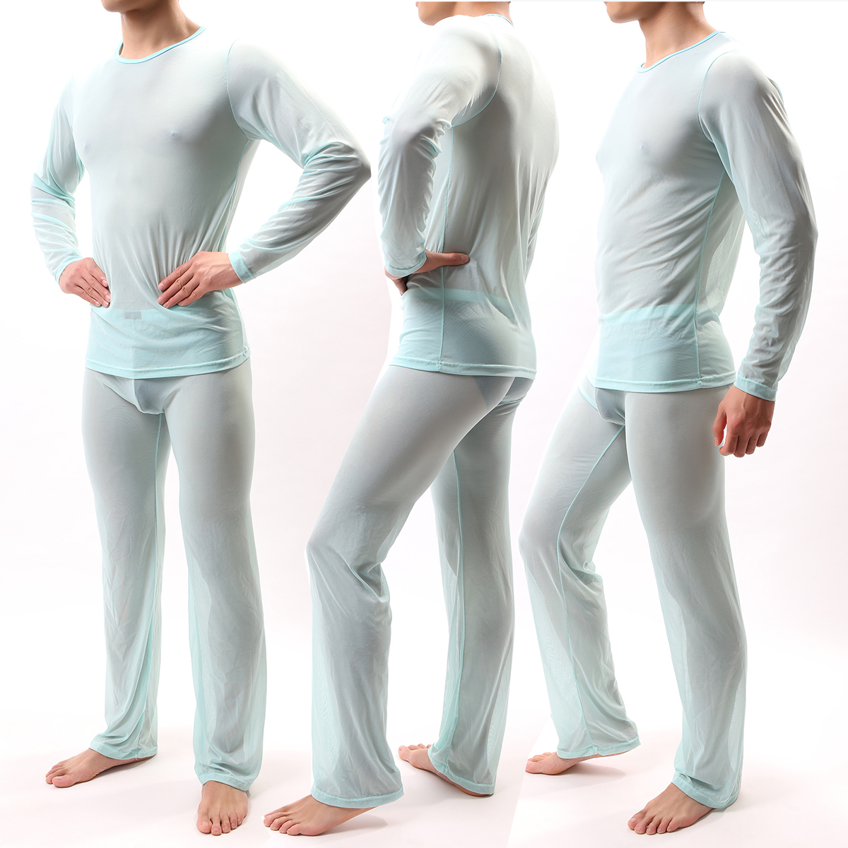 Sexy Men Pajamas Sets See Through Ice Silk T-shirts No Seaming Tee Thin Man T-shirt & Pants Pajama Sexy Male Pajamas Sleepwear