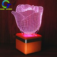 Creative Valentine's Day Gift 3D Night Lamp Bluetooth Loudspeaker Box Rose LED Model Rose Lamp Electronic Products