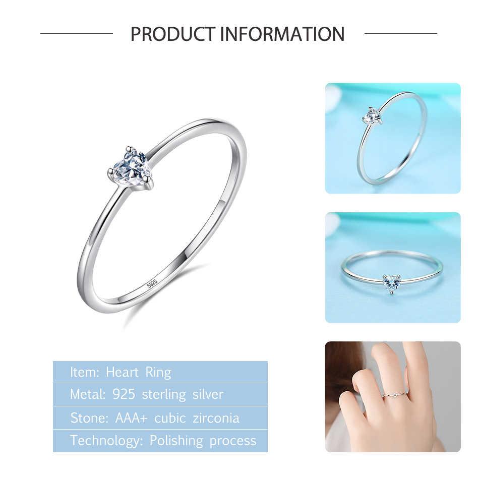 ELESHE แท้ 925 แหวนเงินคริสตัล Simple หัวใจงานแต่งงานแหวนแหวนหมั้น Original เงินเครื่องประดับ