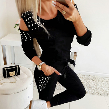 Two Piece Women Clothing Sets Casual Tracksuit Clothing Outfit Long Sleeve Pearl Hollow Out Solid Lady Clothes Top and Pants Set 1