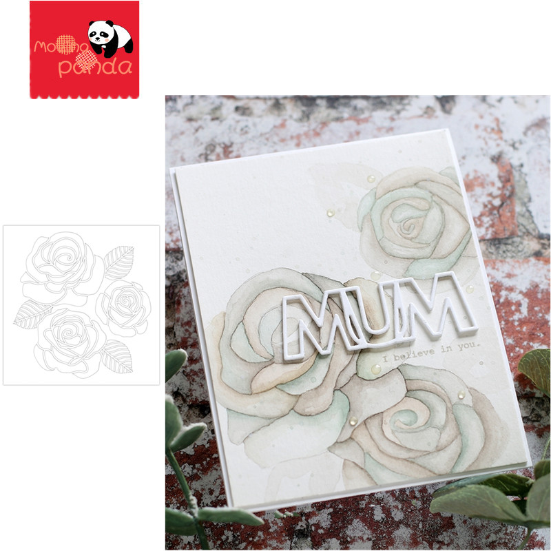 MOM FLOWER Stencil Stamp Stencil For Metal Cutting Dies And Stamps Painting Stencil Template Scrapbooking DIY Crafts Paper