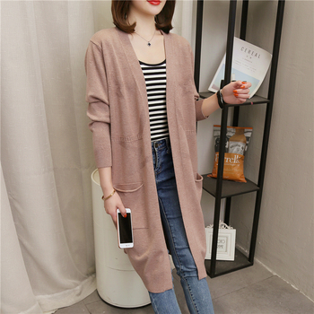 Women Long Cardigan Autumn Winter 2020 Thick Knitted Cardigans Female Casual Loose Sweater Elegant Coat Jacket Women Sweater fengguilai 2020 european spring autumn abstract pattern loose bat sleeve women long cardigan sweater thick sweater coat female