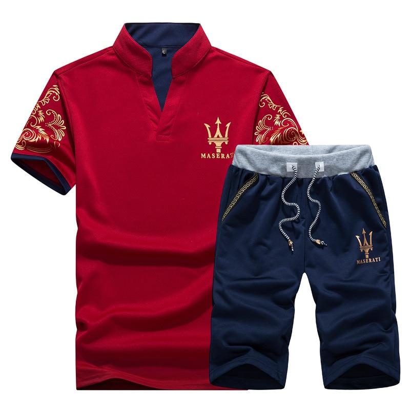 2018 AliExpress Summer New Products MEN'S Short-sleeved T-shirt Hot Selling Set Men Sports Running Fitness Suit Men's