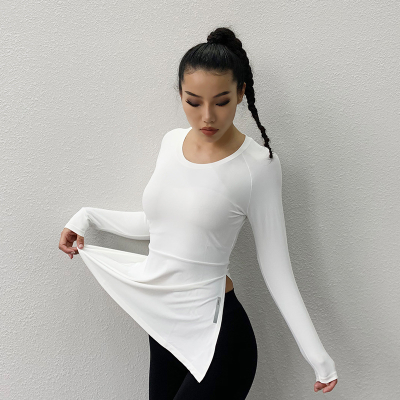 SALSPOR Long Sleeve Gym Top Women Solid Color Side Slit Fitness Top High Elastic Slim Yoga Shirt Quick Dry Running Gym Clothes