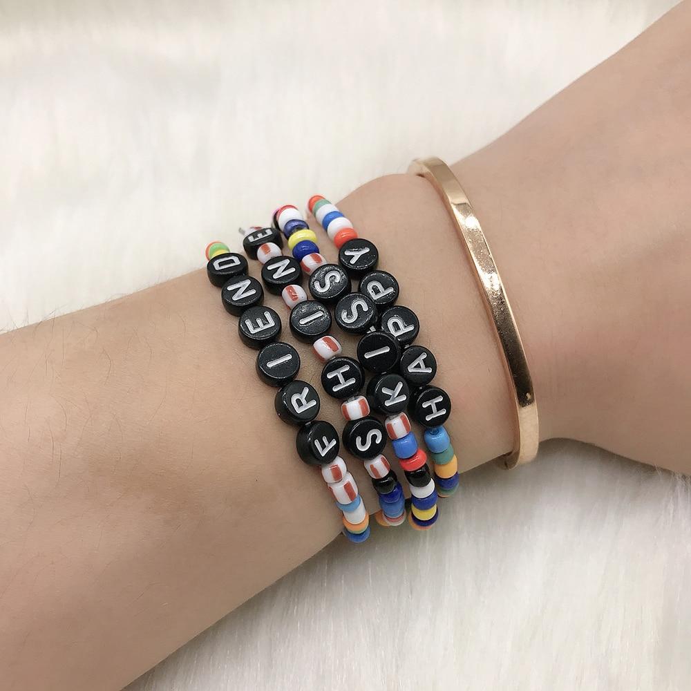 BLUESTAR Ins Friendship Lady Rice Bead Bracelet Handmade Friend Shine Happy Letter Bead Bracelets Pulsera Mujer