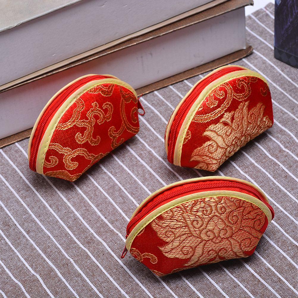 10pcs Coin Purses Mini Chinese Style Portable Zipper Candy Bag Wallets Earphone Holder Shell Shape Bag for Girl Women