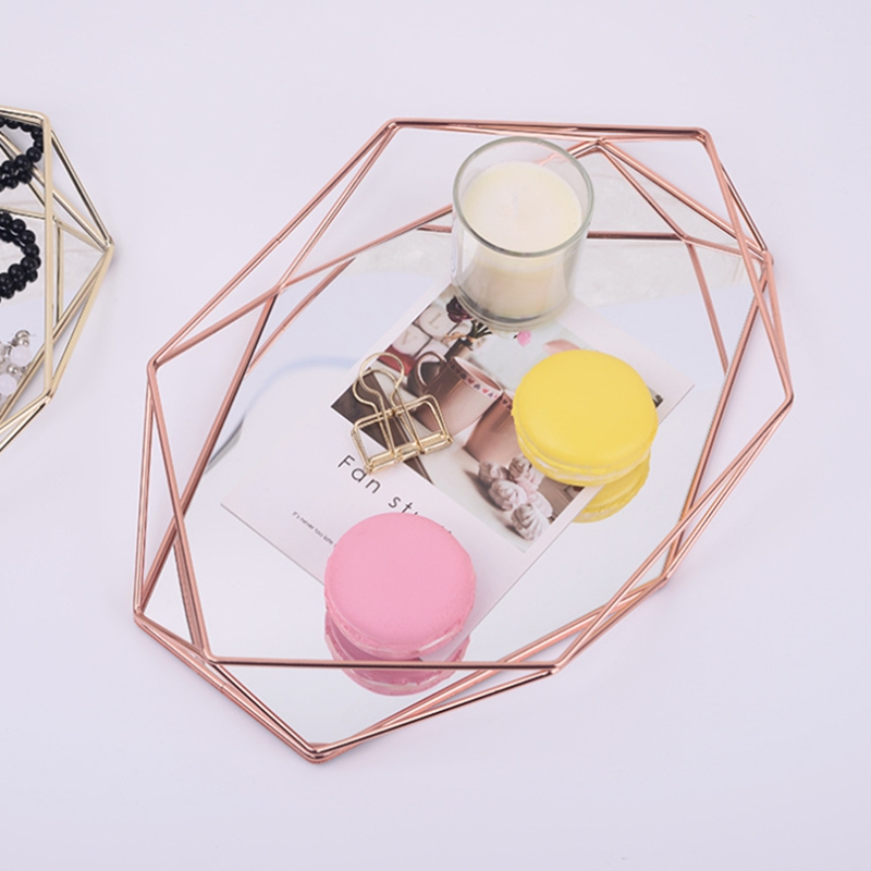 Nordic Style Glass Copper Geometry Hexagon Storage Basket Boxes Simplicity Style Home Organizer Jewelry Necklace Box(Rose Gold)