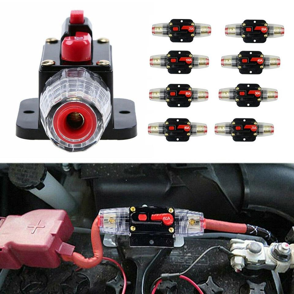 20-100 Amp DC 12v Car Stereo Audio Inline Circuit Breaker Resettable Fuse Holder