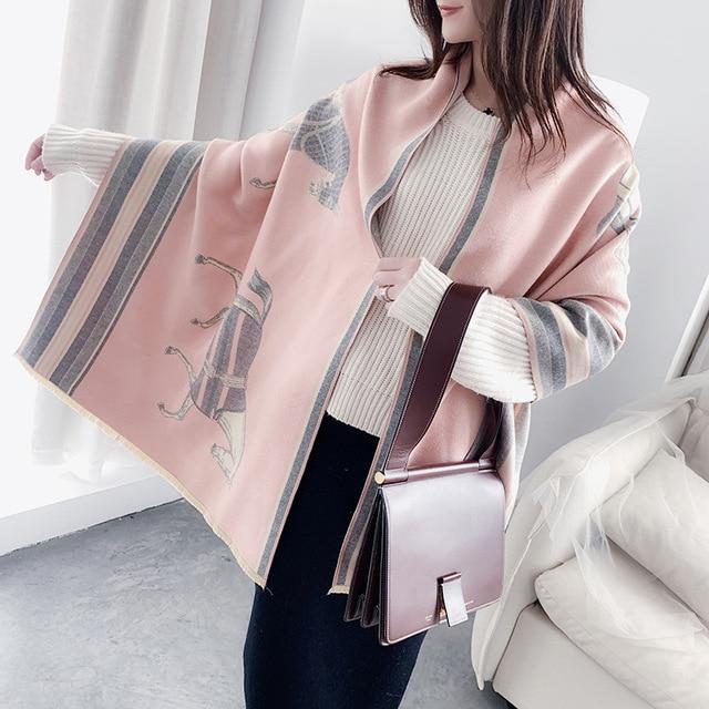 冬のスカーフの女性デザインショール暖かい女性パシュミナカシミアスカーフショールスカーフ厚い毛布馬動物ラップバンダナ 2020 新