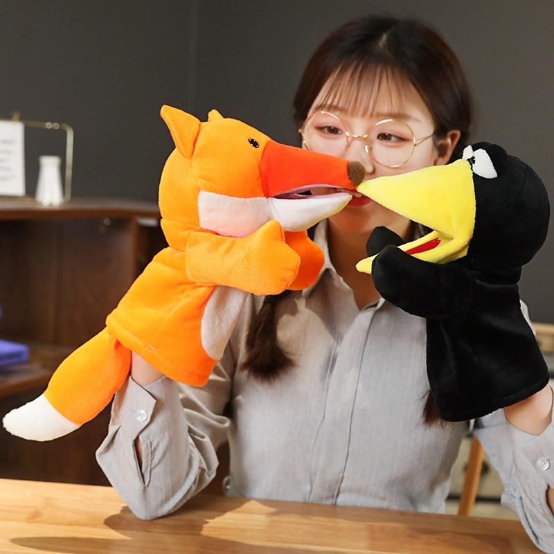 Plush Hand Puppet Soft Animals Puppet Bird Fox Hand Puppet For Kids Adult Pretend Playing Dolls