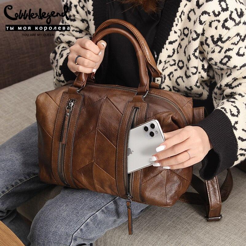 Bolsa de Couro Genuíno para Mulheres Sapateiro Lenda Duplo Zíperes Ombro Crossbody Bolsas Designer Senhoras Luxo Tote 2020 Bolsa
