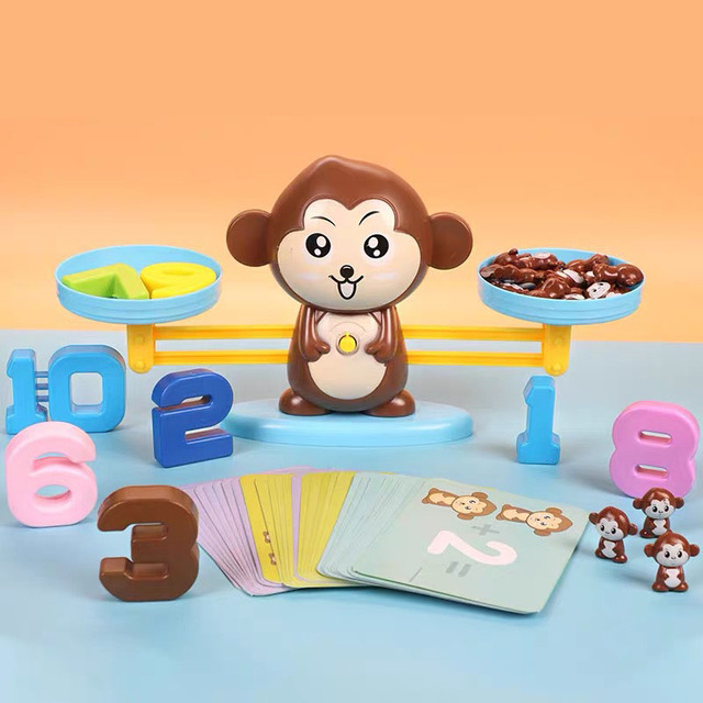 Kids Montessori Math Toy Kindergarten Educational Toys Monkey Puppy Number Balance Game Baby Learning Toys 3