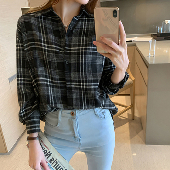 2020 Fall Classic Plaid Blouse Women Turn Down Collar Long Sleeve Shirts 2XL Plus Size Tops Streetwear Modis White Blouse Women girls plaid blouse 2019 spring autumn turn down collar teenager shirts cotton shirts casual clothes child kids long sleeve 4 13t