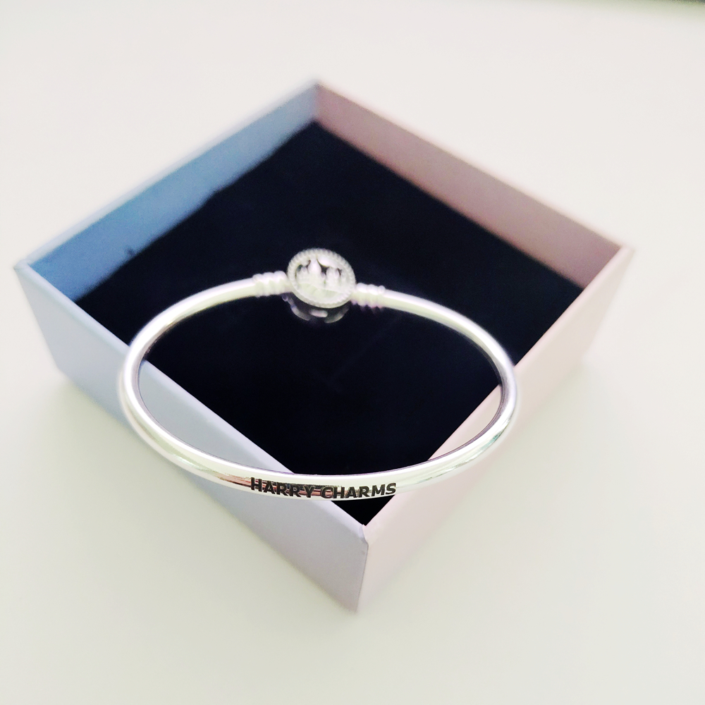 Harry Charms Fashion 100% Real 925 Sterling Silver Castle Bangles For Women Birthday Gift Fine Silver Charm Bracelets 2020