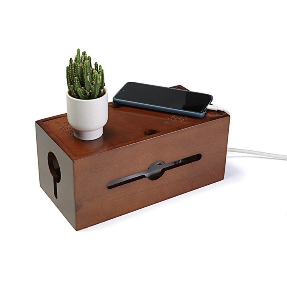 Prise conseil stockage en bois debout salon protection chambre ménage étanche à la poussière puissance câble boîte bureau sculpté fleur