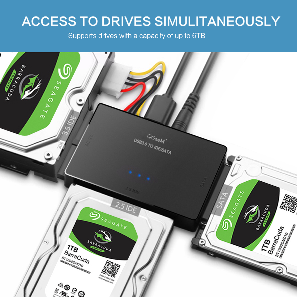 QGeeM SATA to USB IDE Adapter USB 3.0 Sata 2.5 3.5 Hard Disk Drive HDD SSD USB Converter IDE SATA to USB SATA Adapter Cable