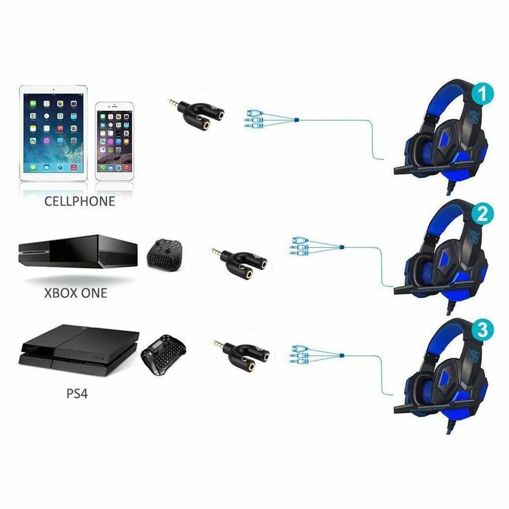 3.5mm ספליטר סטריאו תקע U-צורת סטריאו אודיו מיקרופון & אוזניות אוזניות ספליטר מתאמים עבור PS4 מחשב מחשב נייד אוזן אוזניות