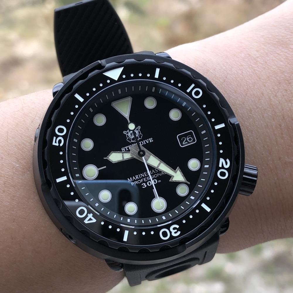 STEELDIVE Black Tuna Steel Dive 300m Automatic Watch Of Man Sapphire Crystal Japan NH35A Dive Watch C3 Super Luminous Watch Man