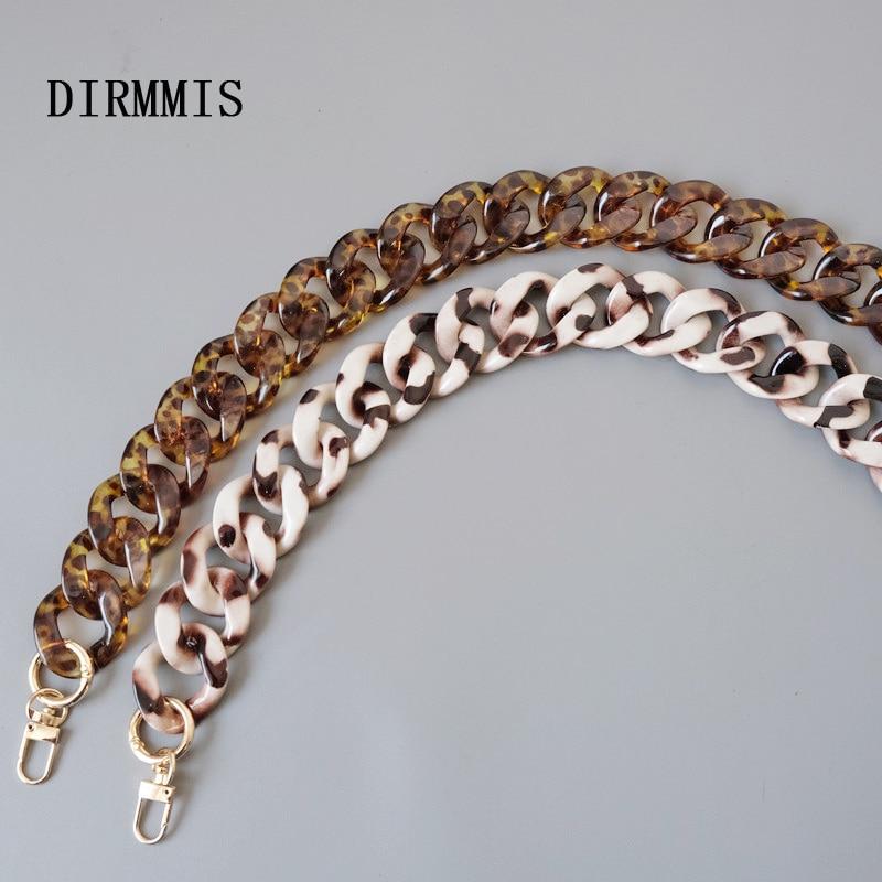 New Fashion Woman Handbag Accessory Parts Beige Leopard Acrylic Resin Chain Luxury Amber Strap Women Shoulder Cute Clutch Chains