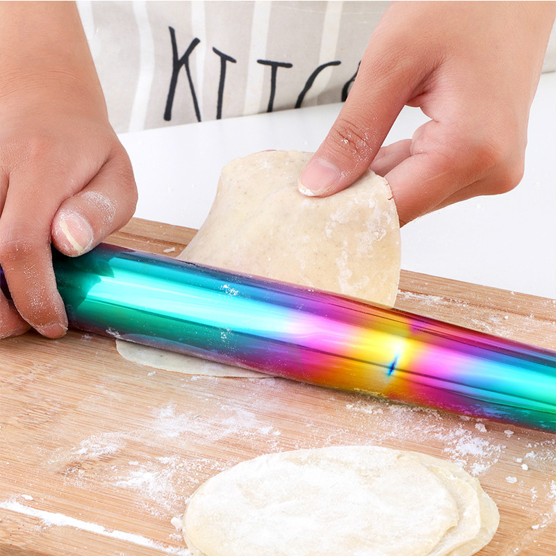 1Pc Stainless Steel Rolling Pin Kitchen Utensils Dough Roller Bake Pizza Noodles Cookie Dumplings Making Non-stick Baking Tool
