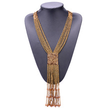 Beaded Tassel Statement Necklaces & Pendants Bohemia Handmade Jewelry Beads Long Necklaces For Women longway free shipping bohemia gold plated tassel necklaces