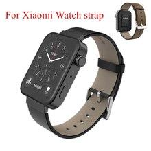 Mijobs for Xiaomi Watch Strap Smart Watch Bracelet Wrist Without Screws Black Brown Leather Band Loop Strap for Mi Watch Strap no 1 s9 nfc smart watch with leather strap brown