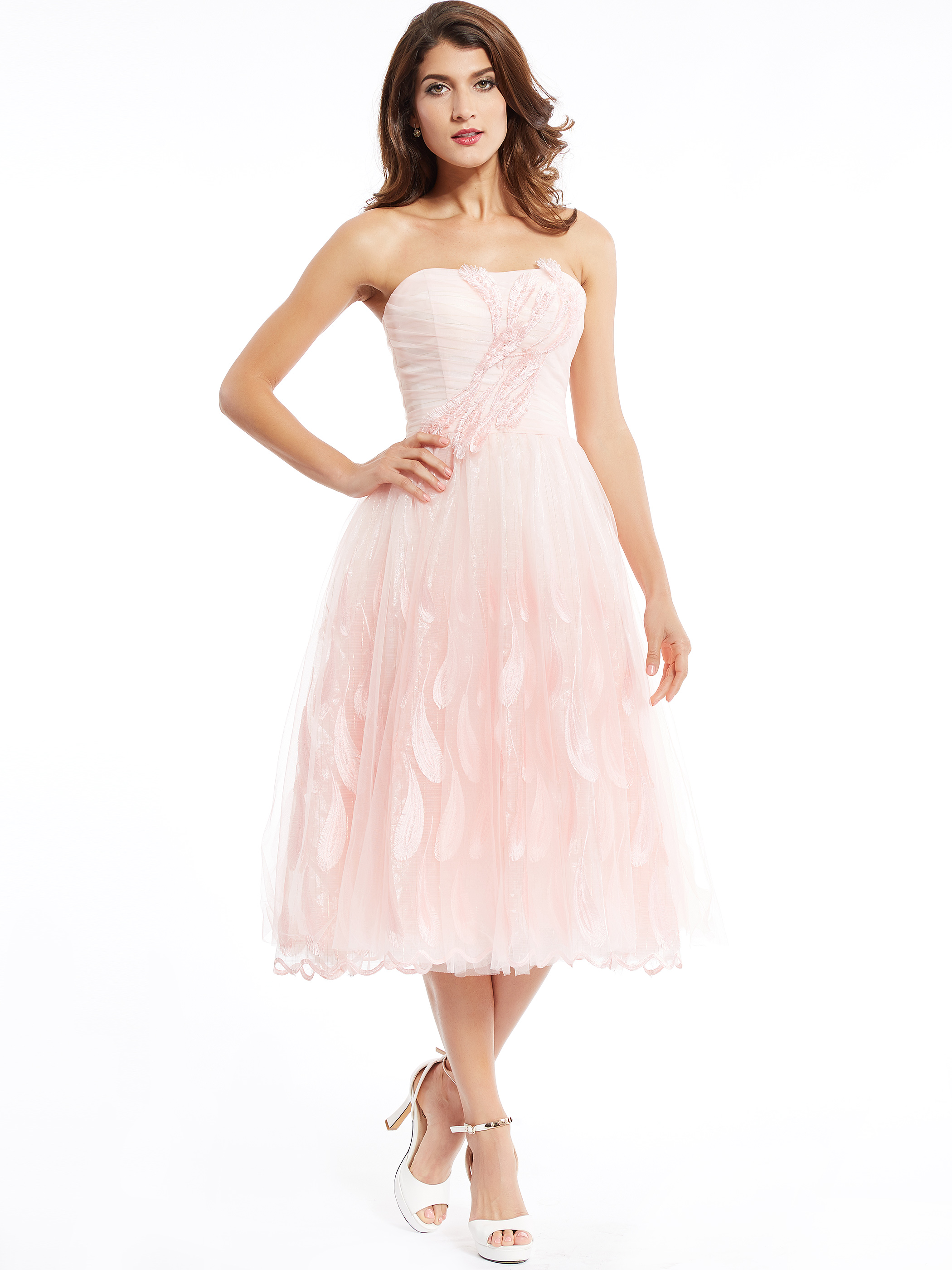 Dressv Strapless Cocktail Dress Pearl Pink Tea Length Beaded A Line Dress Cheap Sweet 16 Appliques Homecoming Cocktail Dresses