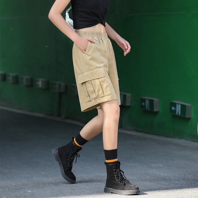 High Waist Cargo Shorts Women Summer Solid Knee Length Safari Xxl Shorts Women Plus Size Cargo Teenage Shorts Harajuku HH50DK