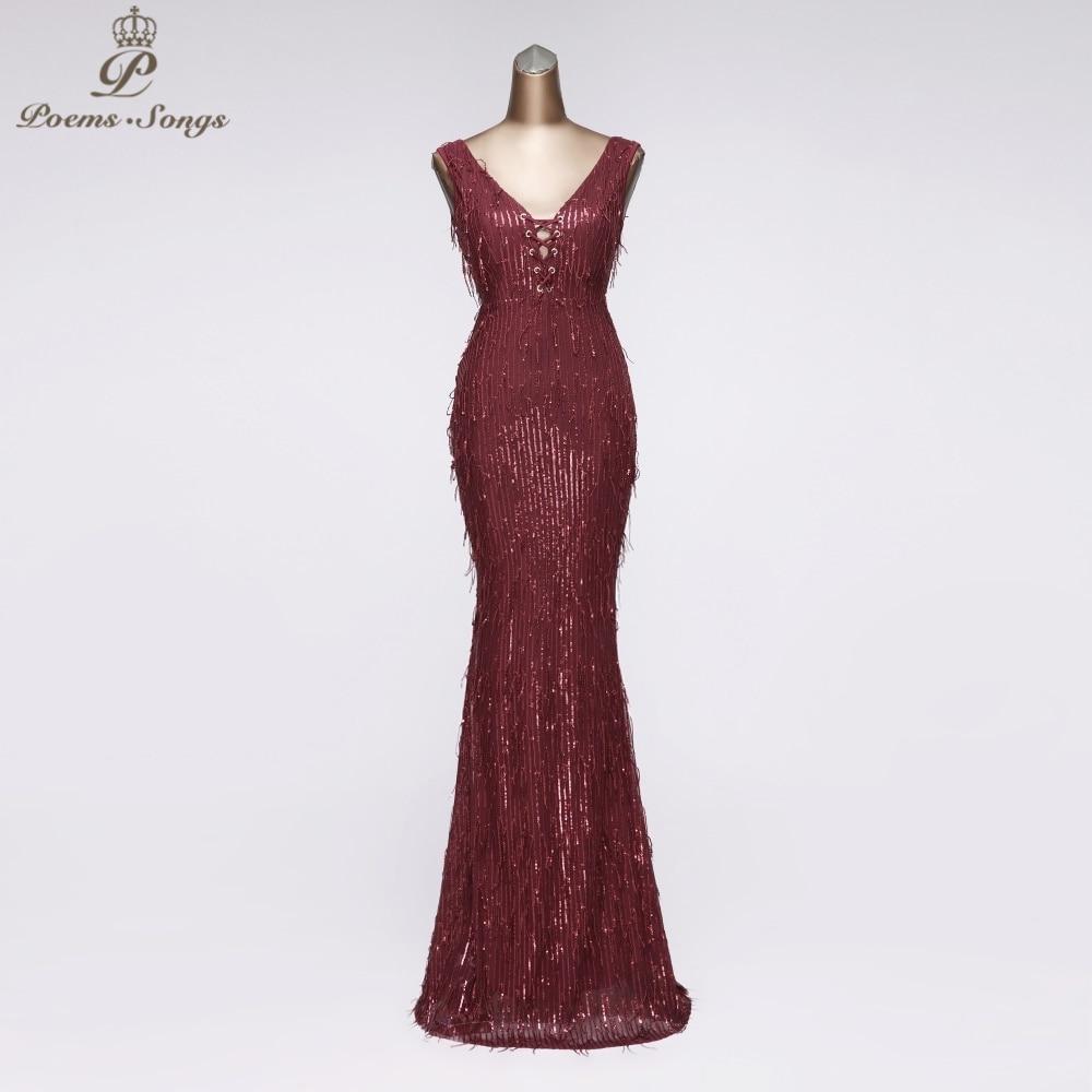Unique Sequined Evening Dress 2020 New Style Mermaid Evening Gown Vestido Longo Festa Long Dress Party Robe De Soiree