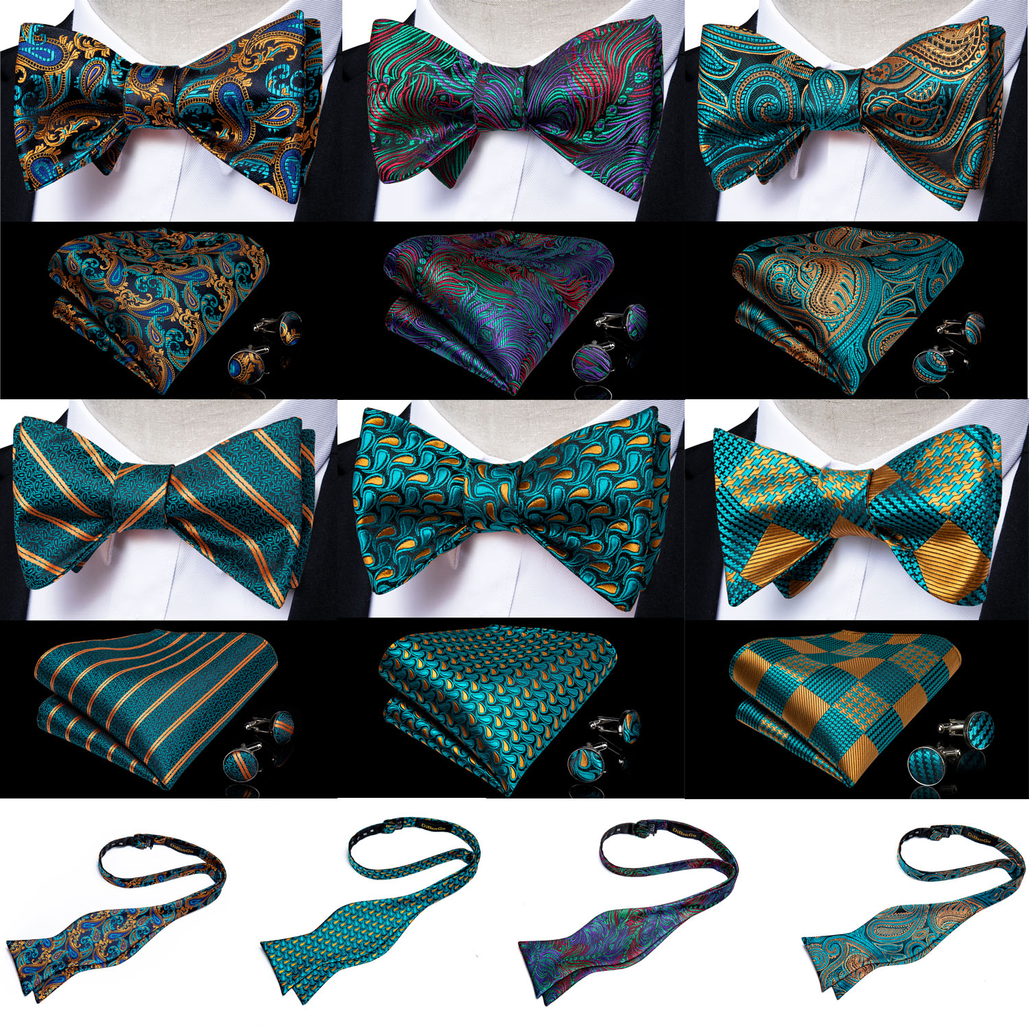 Teal Green Gold Floral Paisley 100%Silk Woven Men Butterfly Self Bow Tie Pocket Square Set Groom Tuxedo Butterfly Bow DiBanGu