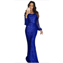2019 Autumn Women dress Sexy Party Dress Sequin Slim Solid Printed V-Neck Long Sleeve Women  Sequin Dress dual v neck metallic sequin cami dress