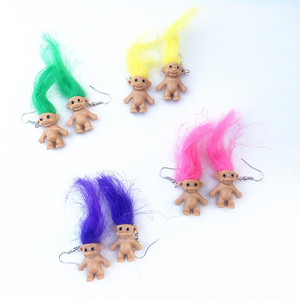 New Fashion Cool Burning Colorful Hair Earrings for Women Girls Retro Ugly Cute Doll Earrings Punk Exaggerated Creative Brincos(China)