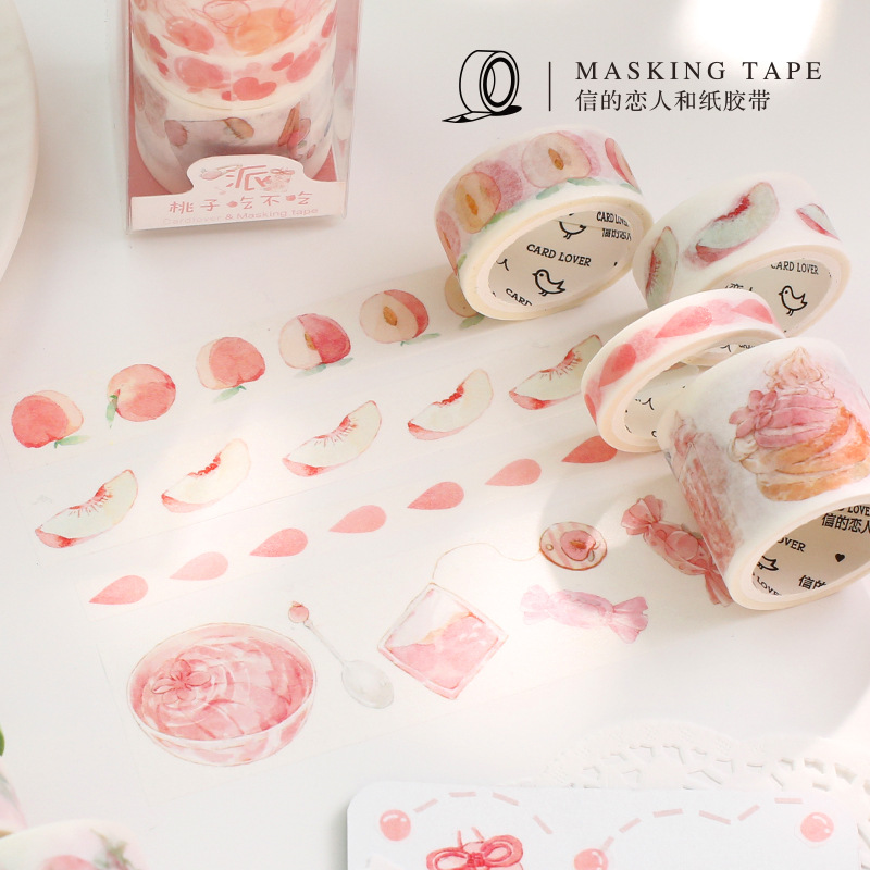 4 Rolls/set 3M Cute Sweet Peach Masking Tape Washi Tape Set Album Scrapbooking Stick Label Hand Account Decor Kids Gift