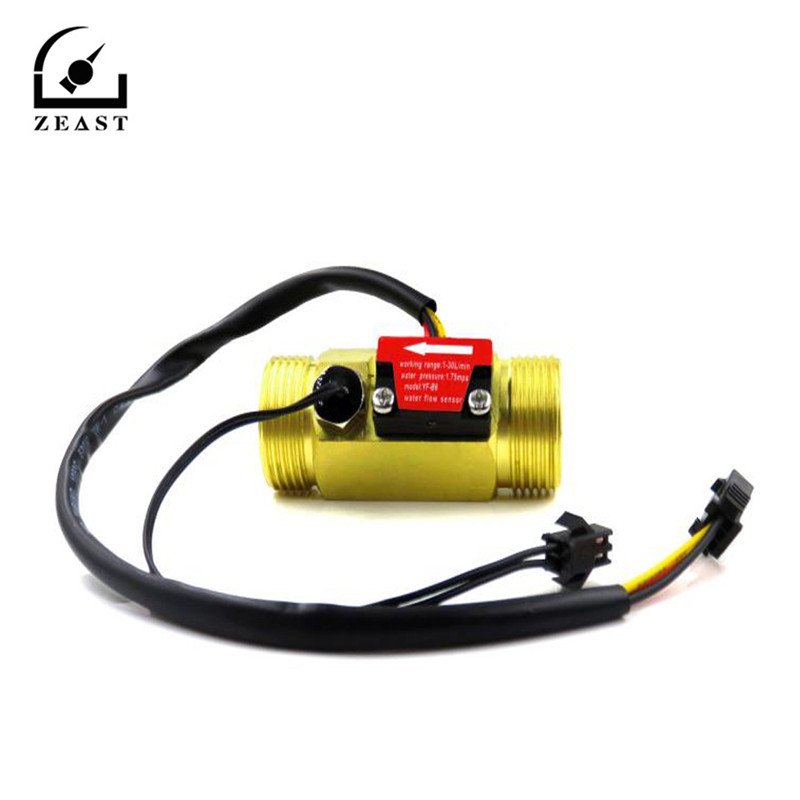 ZEAST G3/4 Flow Sensor Water Flow Sensor Switch For Flow Meter Water Sensor Copper Shell Hall Flow Meter With Temperature