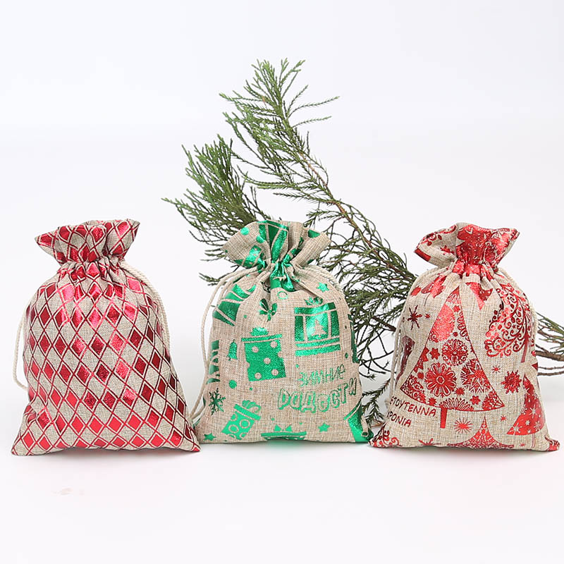 13 * 18cm Christmas Tree Hot Stamping Gift Bag Imitation Hemp Rope Retro Jewelry Jewelry Storage Bag 20