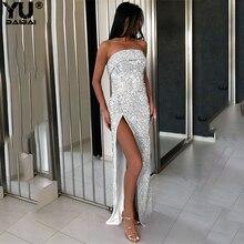 YUBAIBAI 2019 Off Shoulder Women Sexy Strapless Dress Vestidos Backless Sequin Bodycon Party Split Maxi Long Dresses For Female