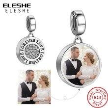 Charm collar colgante personalizable con foto para pulsera Pandora, accesorio original de joyería de plata de ley 925, redondo, bricolaje