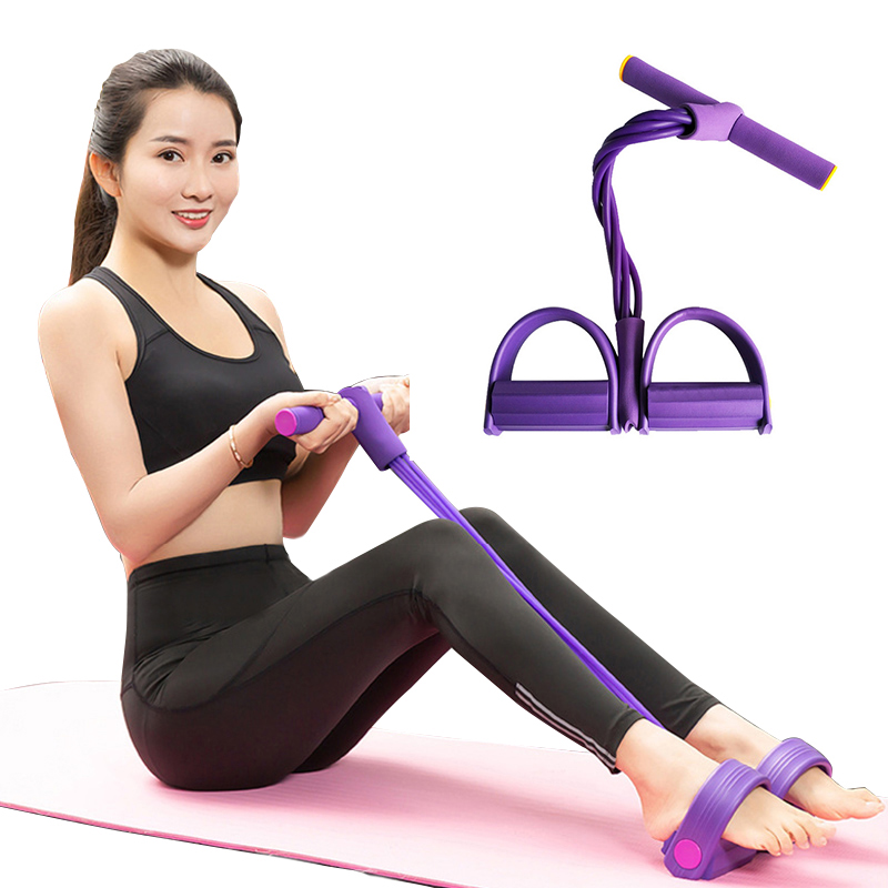 4-Tube Ruber Resistance Bands Pull Ropes Pedal Elastic Band Exerciser Gym Belly Fat Loss Home Sport Training Fitness Equipment