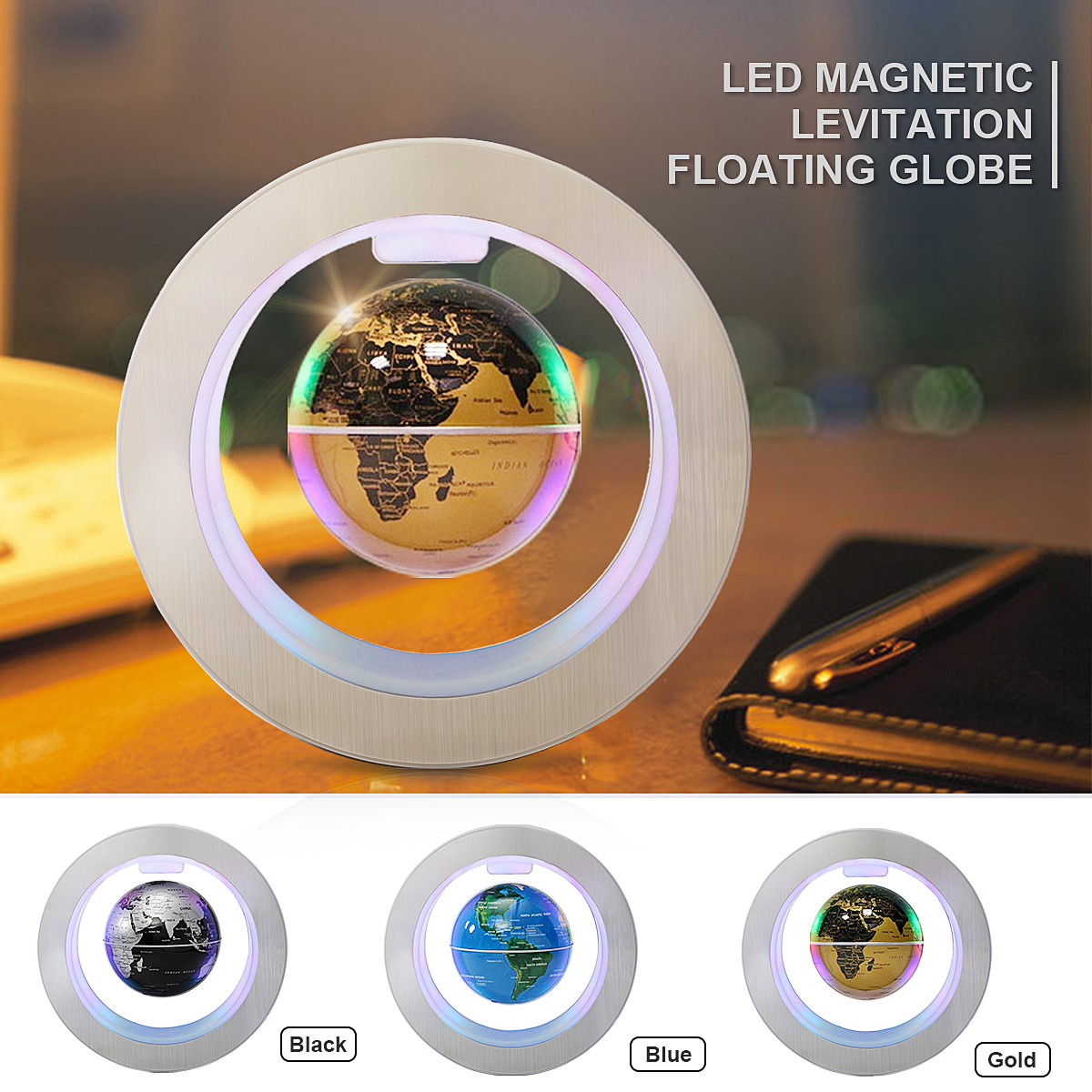 Carte du monde de Globe flottant de lévitation magnétique de 4 pouces avec des lumières de LED lampe enfants géographie décoration de la maison accessoires cadeaux