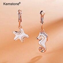 Kemstone Асимметричная Кристалл Длинные висячие серьги морской конек и морская звезда серьги Для женщин Jewelry подарки
