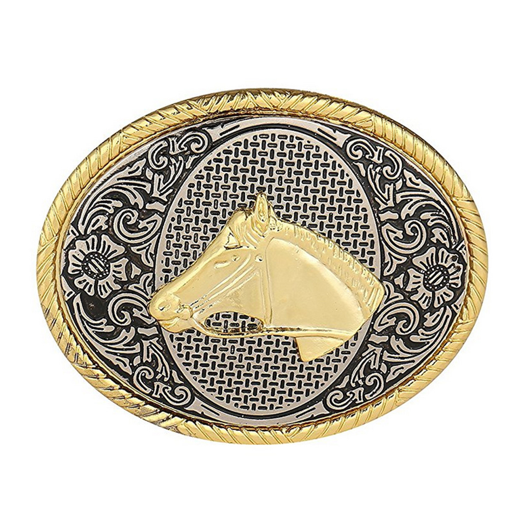 Western Cowboy Horse Belt Buckle Arabesque Pattern Jeans Accessories Classic